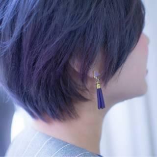 ブルー 小顔 ショート 似合わせ ヘアスタイルや髪型の写真・画像