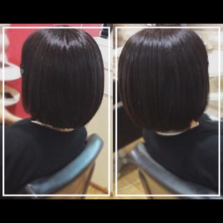 髪質改善トリートメント 黒髪 ナチュラル ボブ ヘアスタイルや髪型の写真・画像