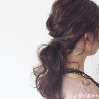 ゆるふわ ポニーテール ロング 結婚式 ヘアスタイルや髪型の写真・画像