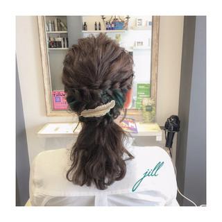 カラーバター 編み込み バレッタ ハーフアップ ヘアスタイルや髪型の写真・画像 ヘアスタイルや髪型の写真・画像