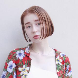 ベージュ オレンジ ナチュラル ヘアカラー ヘアスタイルや髪型の写真・画像