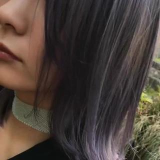 モード ボブ アッシュ イルミナカラー ヘアスタイルや髪型の写真・画像