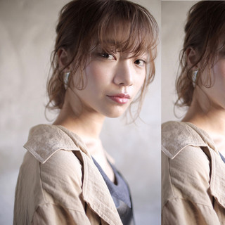 ロブ ナチュラル 簡単ヘアアレンジ ミディアム ヘアスタイルや髪型の写真・画像