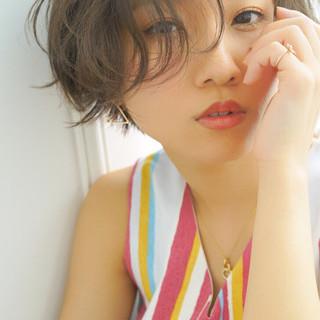 色気 ショート ナチュラル ゆるふわ ヘアスタイルや髪型の写真・画像