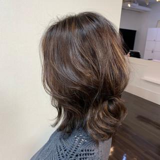 透明感カラー 大人かわいい ミディアム ハイライト ヘアスタイルや髪型の写真・画像