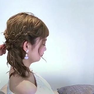 ヘアアレンジ セミロング アウトドア 女子会 ヘアスタイルや髪型の写真・画像