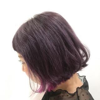 ガーリー ボブ インナーカラー ピンク ヘアスタイルや髪型の写真・画像