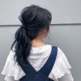 アウトドア 簡単ヘアアレンジ セミロング 外国人風カラー ヘアスタイルや髪型の写真・画像