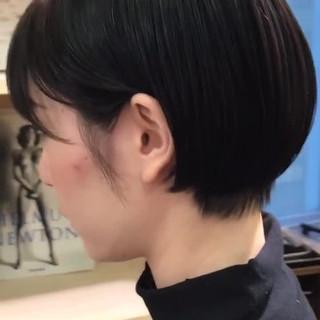 黒髪ショート モード ショート ミニボブ ヘアスタイルや髪型の写真・画像