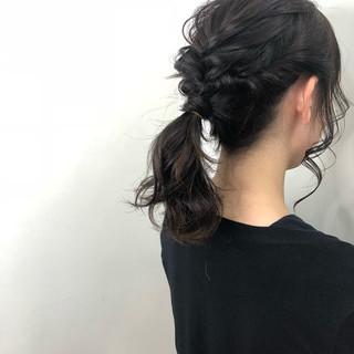 ナチュラル 結婚式 ミディアム 黒髪 ヘアスタイルや髪型の写真・画像