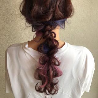 ロング ヘアアレンジ デート ガーリー ヘアスタイルや髪型の写真・画像