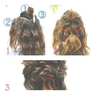 ミディアム ショート 簡単ヘアアレンジ フィッシュボーン ヘアスタイルや髪型の写真・画像