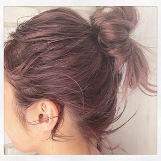 ピンク ピンクアッシュ 簡単ヘアアレンジ ボブ ヘアスタイルや髪型の写真・画像