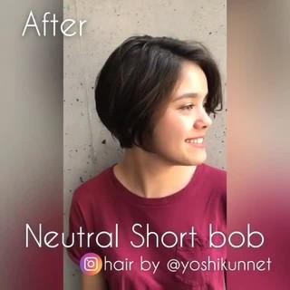 ナチュラル ボブ ショートボブ ショート ヘアスタイルや髪型の写真・画像