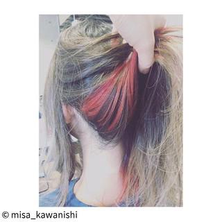 グラデーションカラー ハイライト ヘアアレンジ ピンク ヘアスタイルや髪型の写真・画像