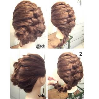 セルフヘアアレンジ 結婚式 ヘアアレンジ 二次会 ヘアスタイルや髪型の写真・画像