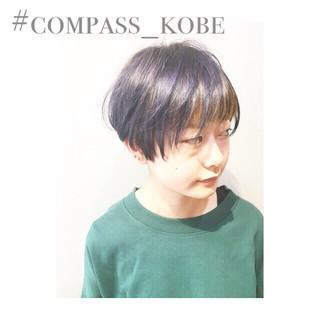 外国人風カラー 暗髪 パープル ショート ヘアスタイルや髪型の写真・画像
