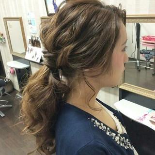 結婚式 ヘアアレンジ セミロング ポニーテール ヘアスタイルや髪型の写真・画像