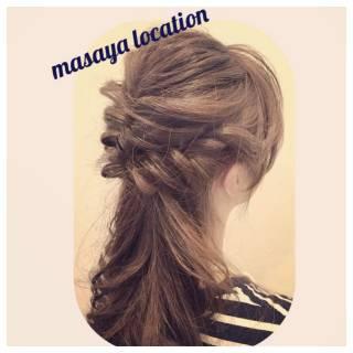 フェミニン ヘアアレンジ セミロング モテ髪 ヘアスタイルや髪型の写真・画像