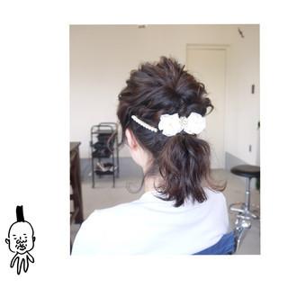 ナチュラル 結婚式 ポニーテール ミディアム ヘアスタイルや髪型の写真・画像