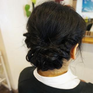 ヘアアレンジ フェミニン 結婚式 黒髪 ヘアスタイルや髪型の写真・画像