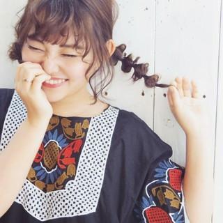 デート ガーリー 三つ編み 簡単ヘアアレンジ ヘアスタイルや髪型の写真・画像