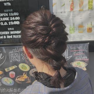 イルミナカラー 簡単ヘアアレンジ コーラルピンク ヘアアレンジ ヘアスタイルや髪型の写真・画像