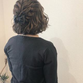 ボブ ボブアレンジ フェミニン ハーフアップ ヘアスタイルや髪型の写真・画像