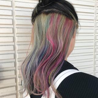 モード ヘアアレンジ ロング インナーカラー ヘアスタイルや髪型の写真・画像