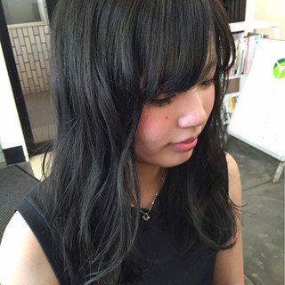 ストリート 暗髪 セミロング ダークアッシュ ヘアスタイルや髪型の写真・画像