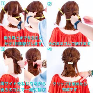 簡単ヘアアレンジ ショート フェミニン ロング ヘアスタイルや髪型の写真・画像
