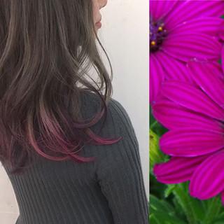 パープル ガーリー セミロング ピンク ヘアスタイルや髪型の写真・画像
