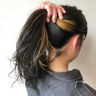 #インナーカラー セミロング ハニーイエロー ストリート ヘアスタイルや髪型の写真・画像