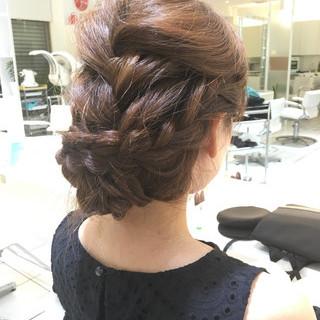 ショート 編み込み セミロング ヘアアレンジ ヘアスタイルや髪型の写真・画像