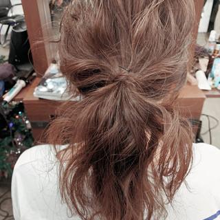 ヘアアレンジ フェミニン ママヘア セミロング ヘアスタイルや髪型の写真・画像