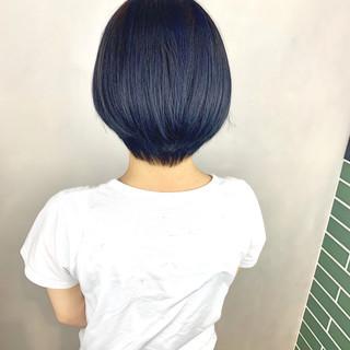 ネイビーブルー ナチュラル ターコイズブルー ショートボブ ヘアスタイルや髪型の写真・画像