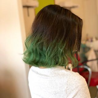 ミディアム ミント ストリート グリーン ヘアスタイルや髪型の写真・画像 ヘアスタイルや髪型の写真・画像