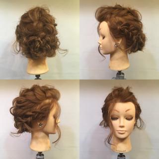ヘアアレンジ パーティ 編み込み セミロング ヘアスタイルや髪型の写真・画像