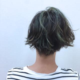 ウェットヘア パーマ ショートボブ ハイライト ヘアスタイルや髪型の写真・画像 ヘアスタイルや髪型の写真・画像