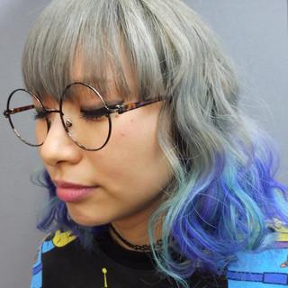 波ウェーブ ハイトーン ボブ グラデーションカラー ヘアスタイルや髪型の写真・画像