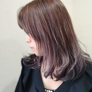 ストレート グラデーションカラー ナチュラル アメジスト ヘアスタイルや髪型の写真・画像