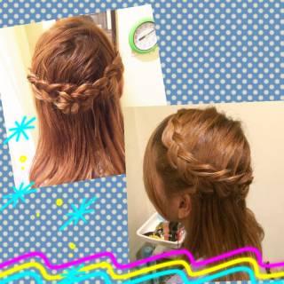 ハーフアップ 三つ編み ゆるふわ 編み込み ヘアスタイルや髪型の写真・画像
