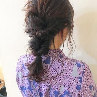 セミロング ヘアアレンジ ナチュラル パーティ ヘアスタイルや髪型の写真・画像