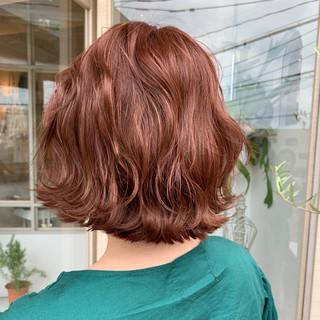アプリコットオレンジ ナチュラル オレンジブラウン オレンジ ヘアスタイルや髪型の写真・画像