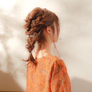 ヘアアレンジ 編み込み セミロング 大人かわいい ヘアスタイルや髪型の写真・画像