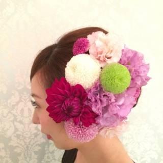 ロング 着物 花 和装 ヘアスタイルや髪型の写真・画像