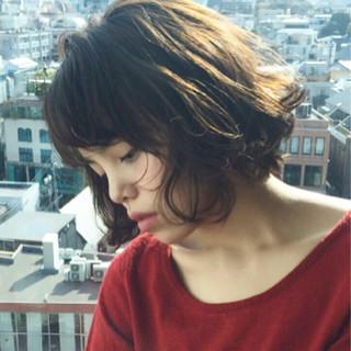 ガーリー パーマ ゆるふわ ショート ヘアスタイルや髪型の写真・画像