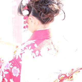 フェミニン ヘアアレンジ ロング 和装 ヘアスタイルや髪型の写真・画像
