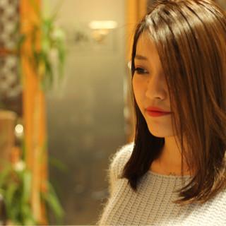 トリートメント サラサラ セミロング 艶髪 ヘアスタイルや髪型の写真・画像