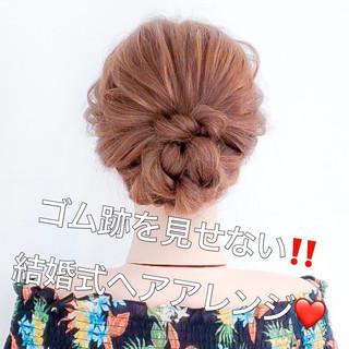 結婚式 ねじり ロング フェミニン ヘアスタイルや髪型の写真・画像